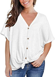 MIHOLL Womens Loose Blouse Short Sleeve V Neck Button...