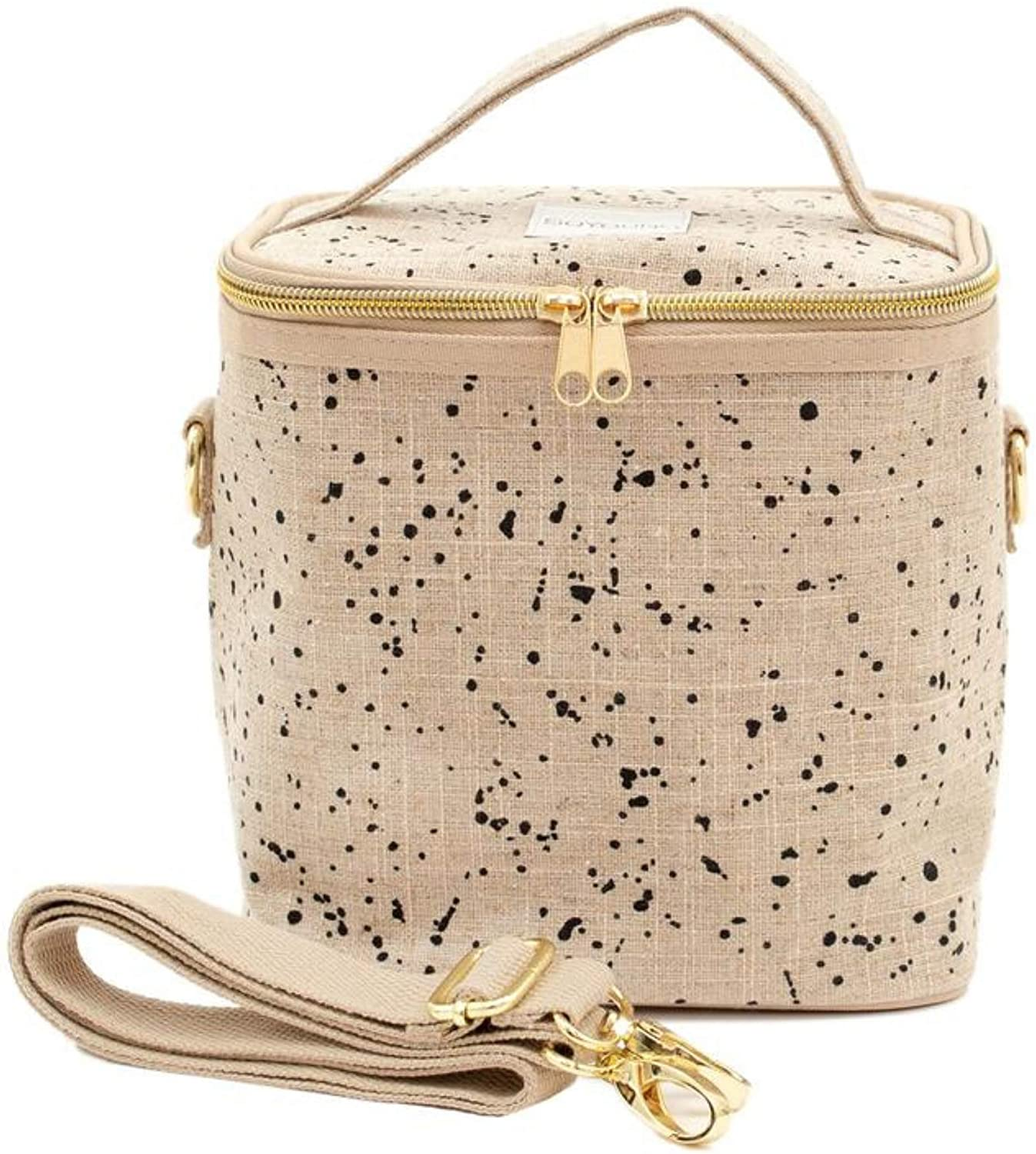 SoYoung Linen Splatter Petite Poche   Stylish, Modern Insulated Lunch Bag for Women   Machine Washable   Removable Insulated Liner   Detachable Messenger Strap