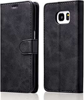 Desktop Cell Phone Stand Leather Case for Samsung Galaxy A5 2017 Version,Ultra Slim [Magnetic Closure] Retro Vintage TPU F...