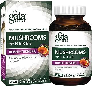 Gaia Herbs Mushrooms + Herbs Reishi + Turmeric, Vegan Liquid Capsules, 60 Count - Daily Immune Support & Inflammation Supp...