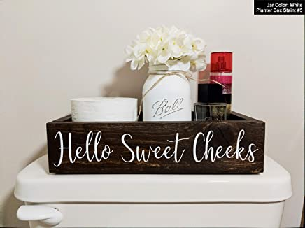 Bathroom Box Bin With Hello Sweet Cheeks. Bathroom Humor Toilet Tray. Choose Your Box Color, Jar Color, and Flower Color.