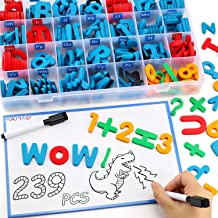 235 Pcs Magnetic Letter Number with Magnet Board, 2 Erasable Magnetic Pen and Storage Box, Foam ABC Alphabet Gift for Refrigerator Fridge, Classroom Toy for Toddler Kid Child Spelling & Learning Game