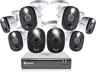 Swann 8 Channel 8 Camera Security System, Wired Surveillance 1080p HD DVR 1TB HDD, Audio Capture, Weatherproof, Color Night Vision, Heat & Motion Sensing Warning Light, Alexa + Google, SWDVK-845808WL
