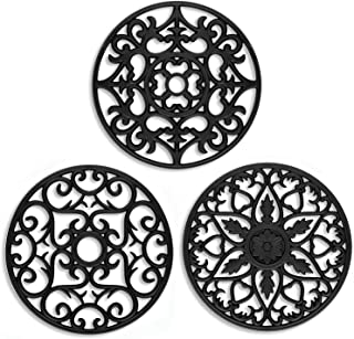 ME.FAN 3 Set Silicone Multi-Use Intricately Carved Trivet Mat – Insulated Flexible..
