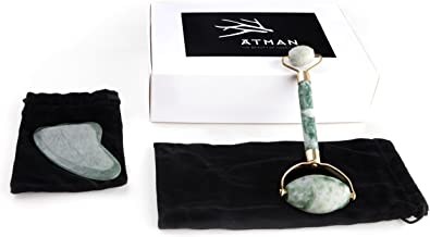 Jade Roller and Gua Sha Set Anti Aging Therapy 100% Natural Jade Facial Roller Double Neck Healing Slimming & Firming Massager Gua Sha Scraping Massage Tool Hand Made - by ATMAN Beauty
