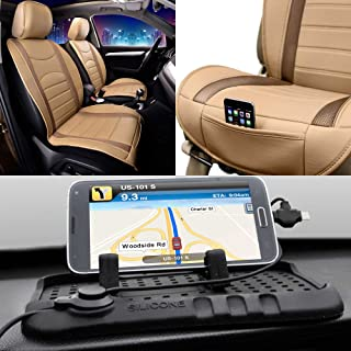 FH Group Year END Sale FH-PU207102 NeoBlend Leatherette Front Pair Seat Cushions, Solid Black Color w. FH3012 Car Silicone Charger Stand- Fit Most Car, Truck, SUV, or Van