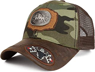 Trendy Apparel Shop Metallic Bull Badge on Leather Patch Trucker Mesh Ball Cap