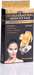 24K Gold and Black Pearl Under Eye Luxury Firming Treatment By Azure – Reduces Fine Lines and Wrinkles | Reduces Dark Circles and Puffiness | Tones and Moisturizes – 5 Pairs