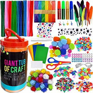 MOISO Mega Kids Crafts and Art Supplies Jar Kit - 550+ Piece Set - Make Bracelets and Necklaces - Plus Glitter Glue, Const...