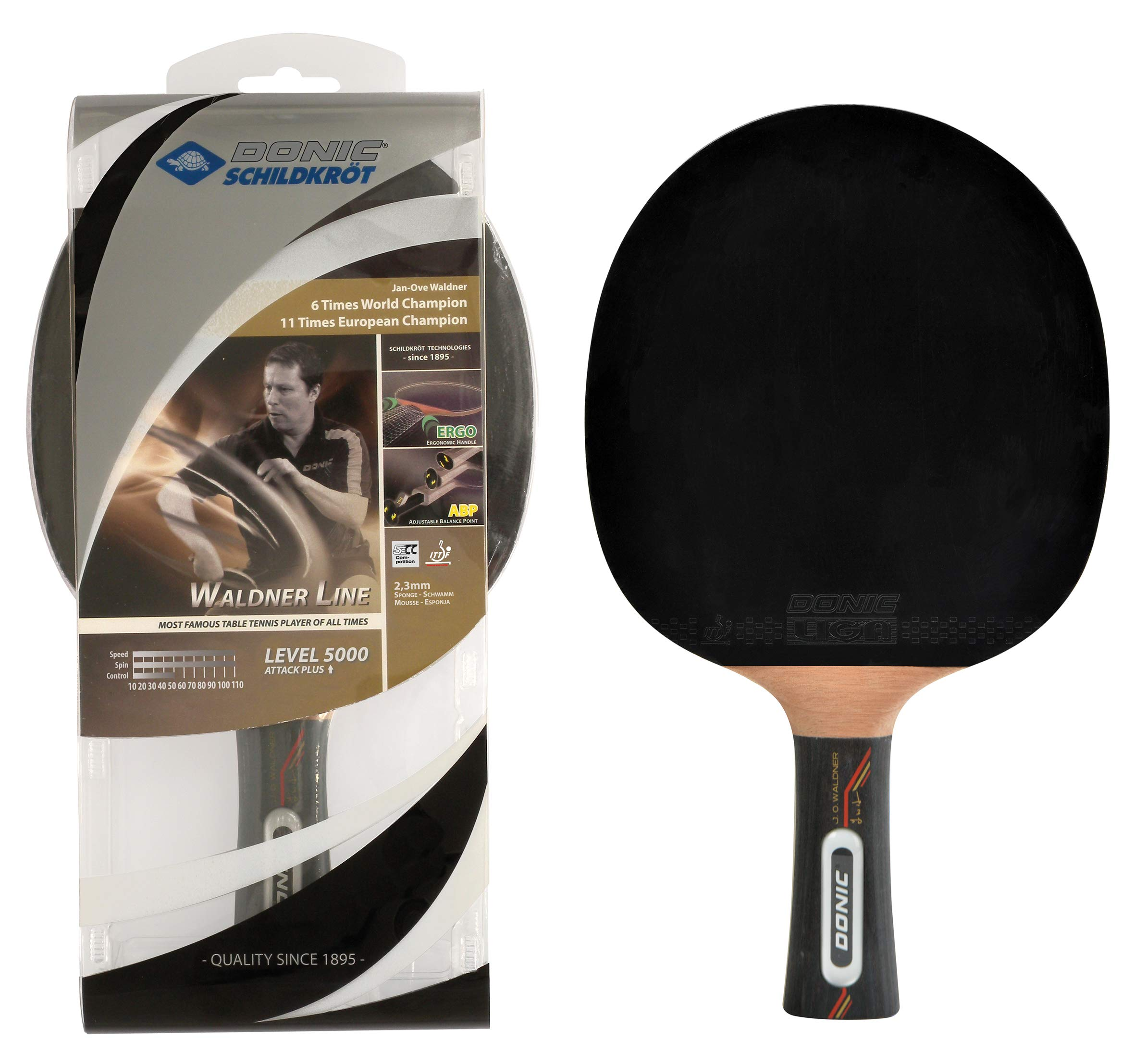 Donic Schildkröt Raqueta de Tenis de Mesa Waldner 5000, Mango ABP, Esponja 2,3 mm, Madera de Carbono, Almohadilla Liga-ITTF, 751805: Amazon.es: Deportes y aire libre