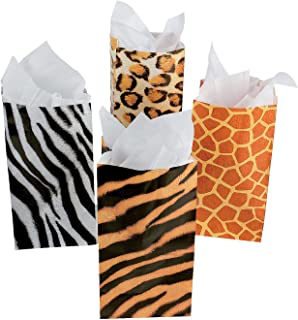 Fun Express - Animal Print Paper Bags - Party Supplies - Bags - Paper Treat Bags - 12 Pieces