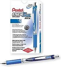 Pentel EnerGel  RTX Gel Pens, 0.7 mm Metal Tip, Black/Silver Barrel, Blue Ink, 12 Each (BL77-C)