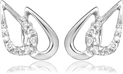Miore - Orecchini da donna con diamante (0,09 ct), oro bianco 18k (750), 10,50 mm, cod. M0815