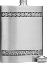 5 oz Celtic Knot Design Pewter Alcohol Liquor Flask in Silver Finish
