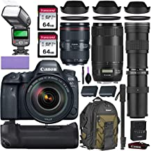 Canon EOS 6D Mark II DSLR Camera w/Canon 24-105mm f/4L II is USM, Canon 70-300mm is II USM & Commander 420-800mm Telephoto Lens + Elegant Accessory Kit (2X 64GB Memory Card, Canon Backpack & More.)