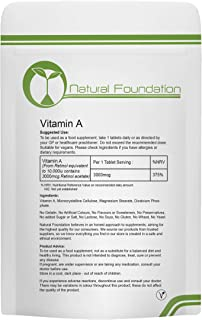 Vitamin A Tablets High Strength 10000ui Retinyl Palmitate | Natural Foundation Supplements (1000)