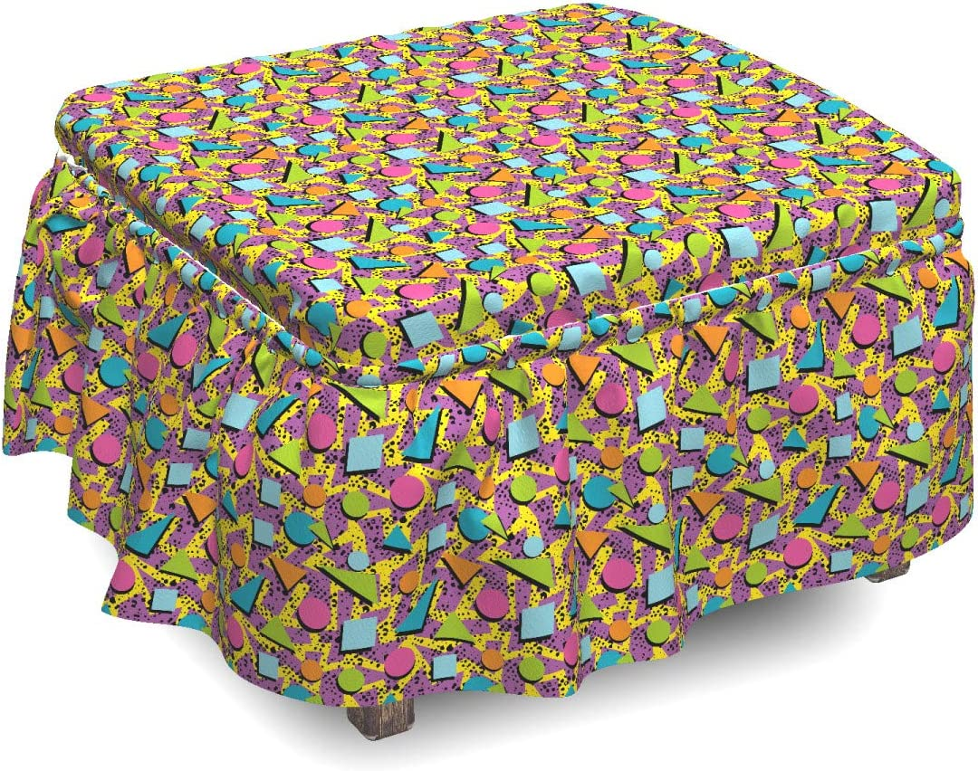 Ambesonne Vintage 2021 autumn and winter new Ottoman Cover Funky 2 Piece Style Max 41% OFF Geometric