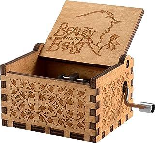 comprar comparacion Caja de música temática de madera manivela belleza y la bestia, mecanismo de 18 notas Caja musical tallada antigüedad mejo...