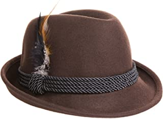 Alpine Holiday Oktoberfest Wool Bavarian Fedora Hat - Brown - Medium (7 to 7 1/8)