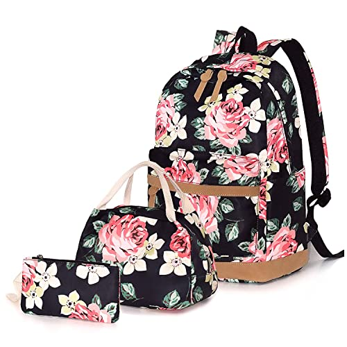 Women Backpack Teen Bookbag With Lunch Box Bag And Pencil Case School Bags Set
