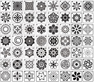 GOTONE 56 Pack Mandala Stencils Reusable Mandala Dot Painting Stencils Templates for DIY Rocks Wood Wall Floor Fabric Furn...