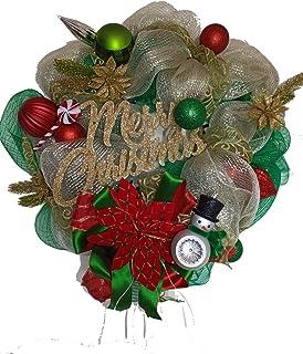 Honeybell Corona Navideña para decorar el hogar con letrero Merry Christmas detalles verdes y plateados, medidas 57cm diam...