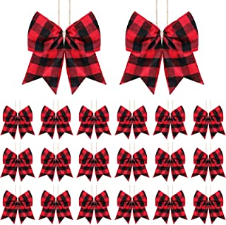 Syhood 20 Pieces Christmas Bows Decoration Plaid Bows Ornaments Christmas Tree Buffalo Plaid Bows Christmas Plaid Wreath Bows for Christmas Tree Crafts Party Indoor Outdoor Decoration (Black and Red)