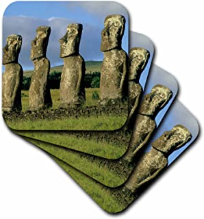 3dRose CST_85892_1 Chile, Easter Island, AHU Akivi, Moai Statues SA05 KSC0009 Kevin Schafer Soft Coasters, Set of 4