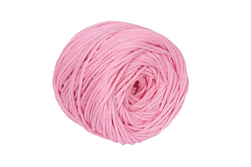 Macrame Cord Light Pink 4mm X 110m(About 120 yd) Natural Virgin Cotton Handmade Decorations Macrame Wall Hangings Plant Hanger Crocheting Bohemia Dream Catcher DIY Craft Knitting - Soft Light Pink Str