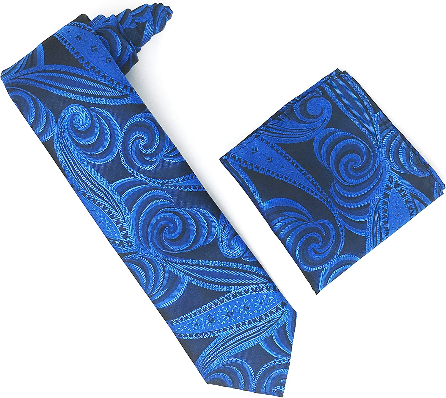 Black, Royal Blue & Navy Designed 100% Silk Woven Necktie With Matching Pocket Square