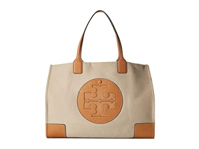Tory Burch Ella Canvas Tote (Natural) Handbags