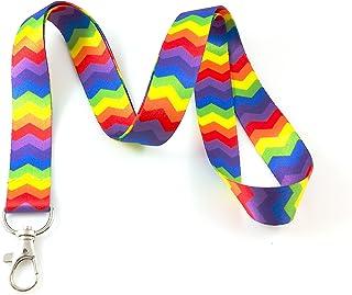 Rainbow Chevron Lanyard Porte-clés badge d'identification support