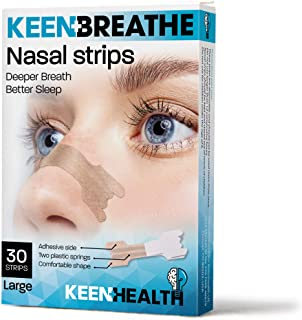 Snoring Solution - Nasal Strips to Instantly Relieve Nasal Congestion - 30 Count Anti-Snoring Strips - Scentless Nose Strips - Keenhealth - Deeper Breath Better Sleep - K-NS-356
