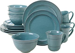 Certified International 40166 Orbit 16 pc. Dinnerware Set, Service for 4, Teal