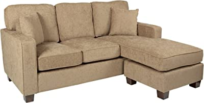 OSP Home Furnishings Russell Reversible Sectional Sofa with 2 Pillows and Coffee Finished Legs, Earth Fabric