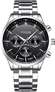 S2SQURE 腕時計 メンズ 自動巻き 日付 曜日 24時間 シンプル 夜光 ステンレスバンド 格好良い ベーシック バラック 機械式 オシャレ