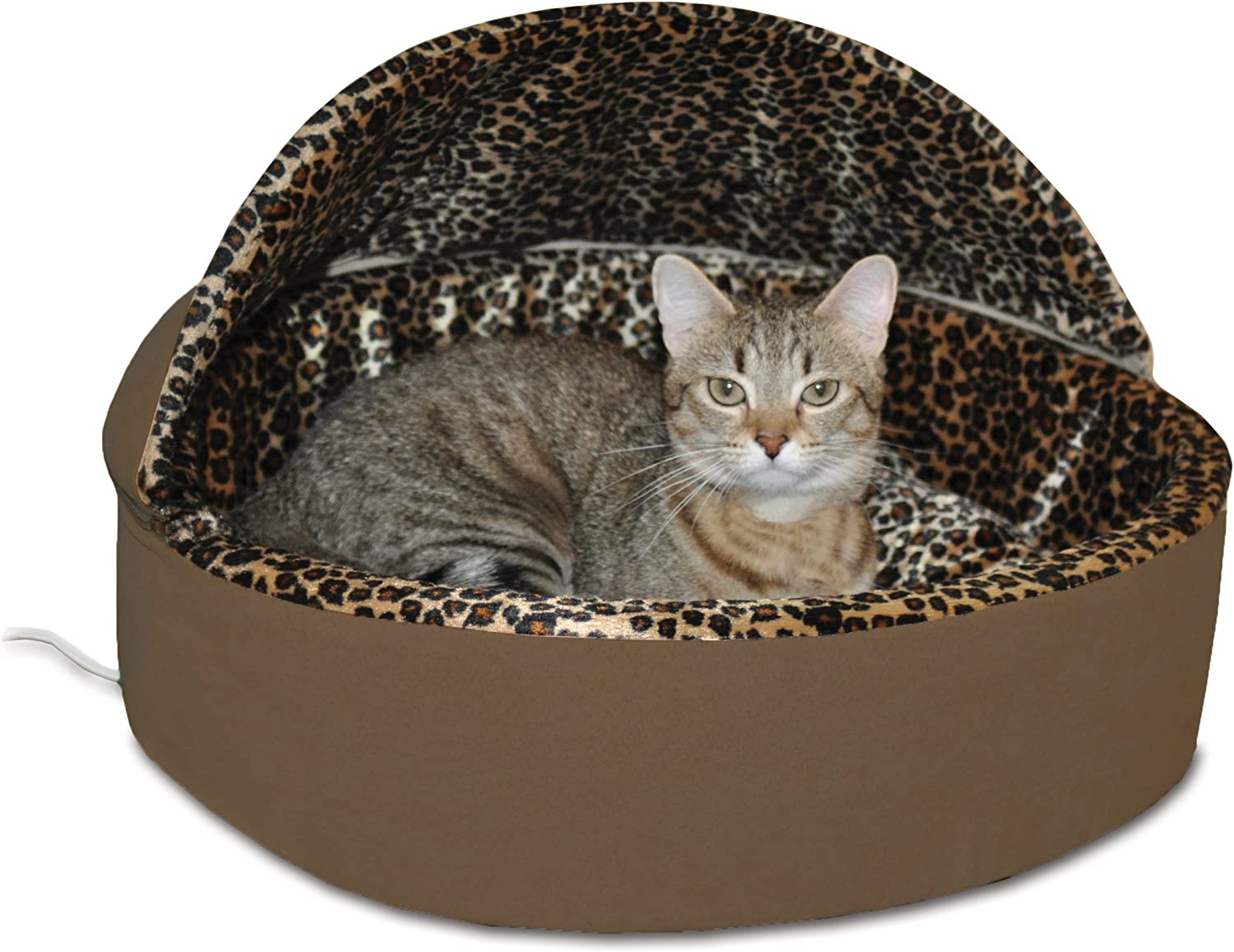 K&H Manufacturing ThermoKitty Deluxe Hooded Cat Bed, Small 16Inch, 4Watts, Mocha Leopard