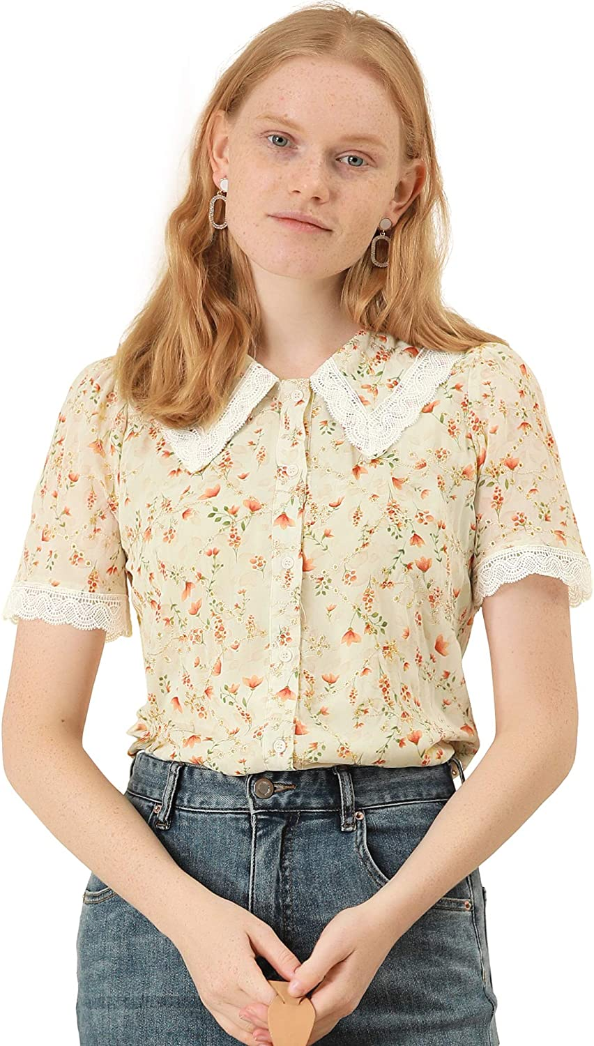 1940s Blouses, Tops, Shirts, Knitwear Allegra K Womens Peter Pan Collar Shirt Lace Embroidered 1940s Vintage Peasant Floral Blouse  AT vintagedancer.com