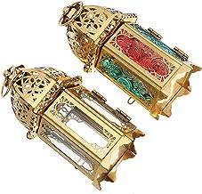 OSALADI 2 peças de lanterna de vela decorativa vintage, lanterna de mesa de metal, suporte de vela para decoração de festa