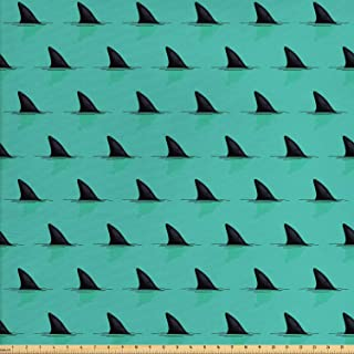 Lunarable Marine Fabric by The Yard, Shark Fins in The Sea Danger in Ocean Scary Creature Swimming Illustration, Decorative Fabric for Upholstery and Home Accents, 1 Yard, Seafoam Black