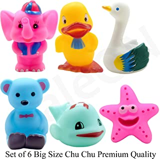 SaleON 6 Pcs Large Size Cute Animals Swimming Water Toys Non-Toxic , BPA Free Colorful Soft Rubber Float Squeeze Sound Squeaky Bathing Toy for Baby Bath Toys Chu Chu Toy Set Premium Quality (1335)