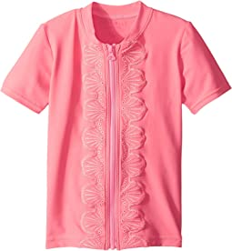 Seafolly Kids - Sweet Summer Short Sleeve Zip Front Rashie (Infant/Toddler/Little Kids)