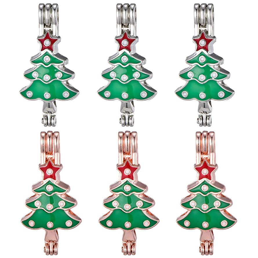 10pcs Mix Color Christmas Tree Enamel Cute Pearl Bead Cages Locket Scent Aromatic Essential Oil Diffuser Charm Pendant DIY Jewelry Making Charms (A503)