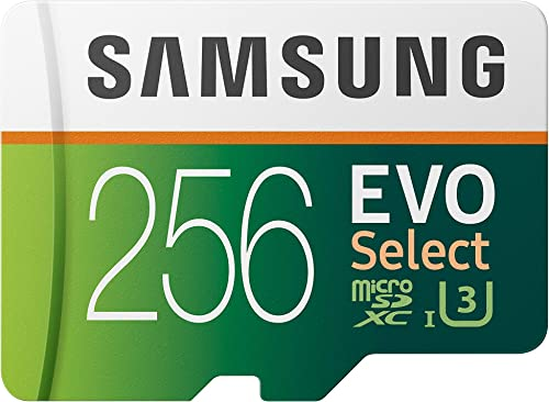 Samsung Electronics EVO Select 256GB microSDXC UHS-I U3 100MB/s Full HD & 4K UHD Memory Card with Adapter (MB-ME256HA)