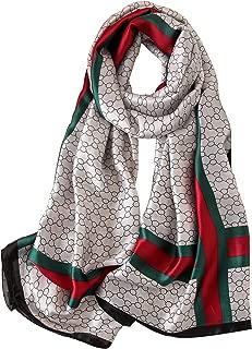 NUWEERIR Womens 100% Mulberry Silk Scarf Long Satin Scarf Fashion Designer Scarf Lightweight Neck Wear