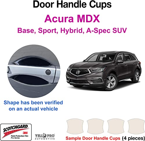 discount YelloPro Custom Fit Door Handle Cup 3M Scotchgard Anti Scratch Clear Bra Paint Protector Film Cover Self Healing PPF Guard Kit for 2017 2018 2019 2020 2021 Acura MDX popular Base, lowest Sport, Hybrid, A-Spec, SUV sale