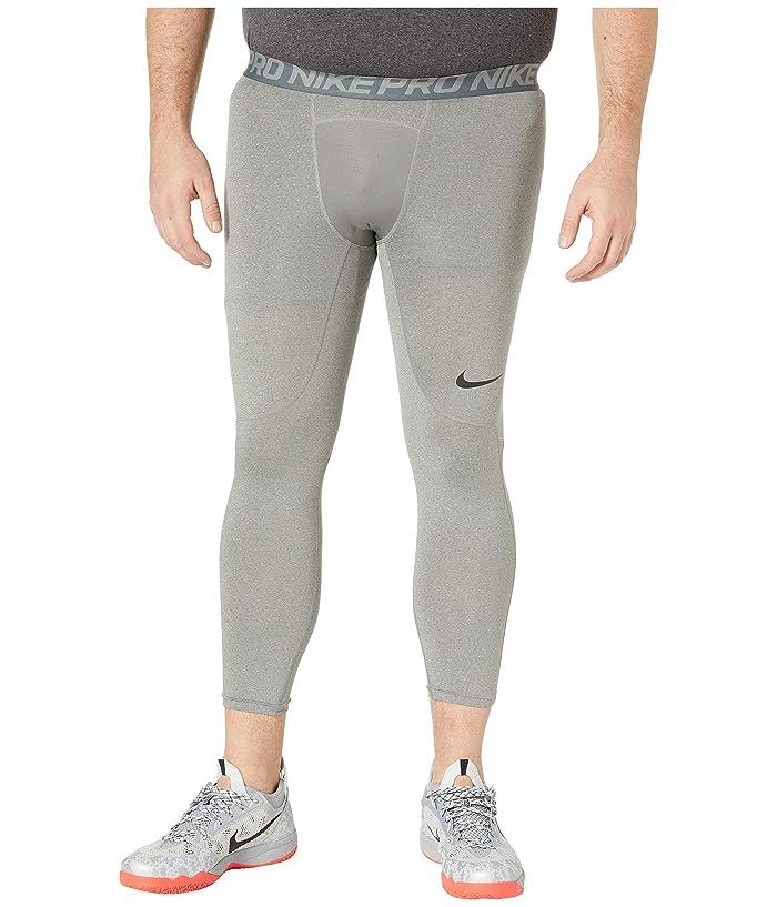 Nike Big Tall Pro 3/4 Tights (Carbon Heather/Dark Grey/Black) Men