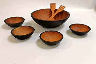 product image for Solid Cherry Wood Salad Bowl Set - 7 Bowls - Holland Bowl Mill