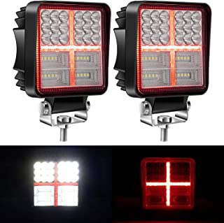 Yorkim Offroad 4x4 Led Fog Lights Red & White Combo Cross-Shape with Flash Strobe, Offroad Led Pod Light Cube, Offroad Led Flood Lights, 4x4 Led Spot Lights For Truck Jeep SUV