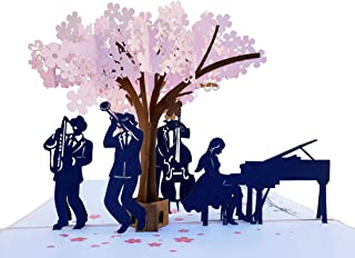 iGifts And Cards Smooth Jazz Band 3D Pop Up Greeting Card - Music Lovers, Awesome, Under a Cherry Blossom, Notes, Inspirational, Cool, Half-Fold, Celebration, All Occasion, Happy Birthday, Anniversary